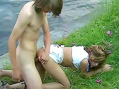 Barely legal cutie Brenda fucks out by the river