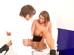 Hot german lady with huge tits takes it by the doctor