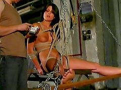Skinny girl spanked in BDSM film