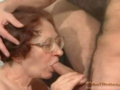 Granny nerd in glasses sucks and fucks