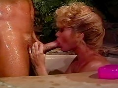Betty Jean Bradley sucks Rocco Siffredi's cock and gets a cumshot on her boobs