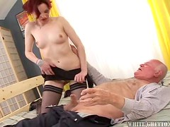 Slutty Caroline fucks old man and gets her pussy creampied
