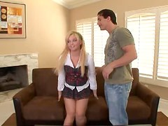 Big-assed blonde Emma Heart gets naughty with three horny studs.