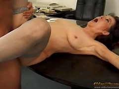 Cumshot glazes mature tits after good sex