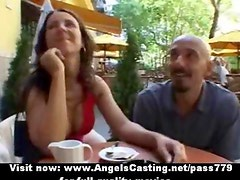 Amazing gorgeous sexy redhead babe talking on the terrace