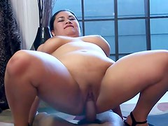 Large obese Asian Babe gets a good big black cock fuck!