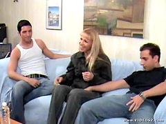 Hot Blonde MILF Having Fun With Two Younger Cocks