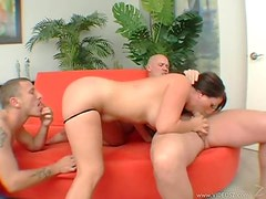 Sexy Brunette Mature In Threesome Action