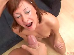Naughty brown-haired girl sucks big dick and swallows cum