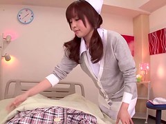 Hirono Imai the beautiful nurse pleasuring a guy in a hospital