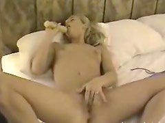 Horny Blonde Teen Plays With A Dildo In Homemade Video