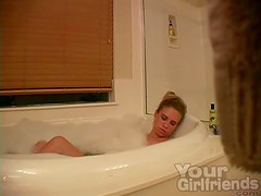 Hidden cam of amateur masturbating in bathtub
