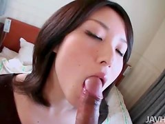 Dude fondles her tits and gets a blowjob