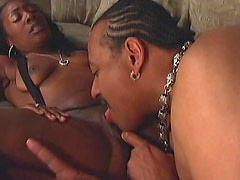 Licked black cunt fucked by BBC