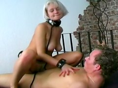 Collar and leash on fucked blonde slave