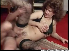 Creampie for a fuck slut in stockings