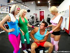 Three Hot Blondes Use And Abuse One Lucky Stud