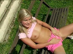 Nubile Blonde Using Her Favorite Pink Dildo