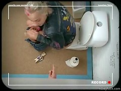 Blonde Punk Girl gets Fucked Through a Glory Hole