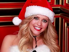 Merry Christmas from blonde lingerie babe