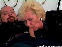 Blown by an old blonde in the bedroom