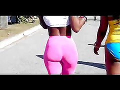 Tight ebony body with a great ass in pink spandex