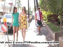 Faye and Larysa two splendid babes walking down the street to a diner