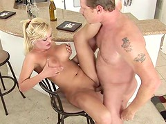 Big boobs blonde boned in her apartment