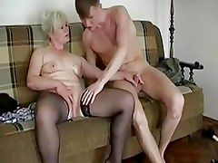 Chubby Blonde Granny Seduces A Y...