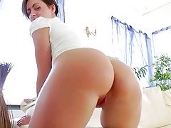Huge red dildo in her opened asshole