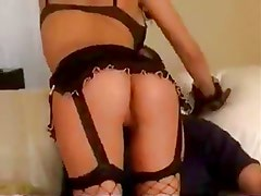 Sultry lingerie brunette fucked in all holes