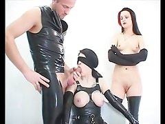2 hotties fetish latex asslicking and anal mff