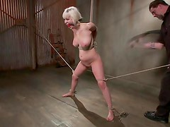 Tied up submissive learning her lesson