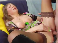 Dirty old lady with clit piercing fucked hard