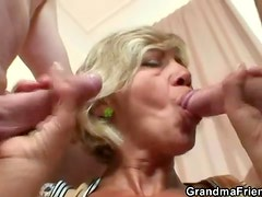Slender sexy old lady hardcore threesome scene
