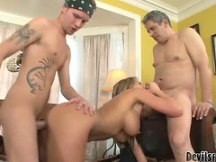 Father And Son Team Up To Double Team Hotties
