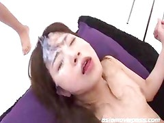 Bukkake Cum Facials on hot Teen Mahiro Aine