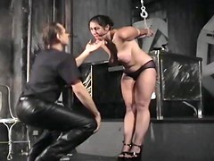 Needles in the tits of BDSM girl
