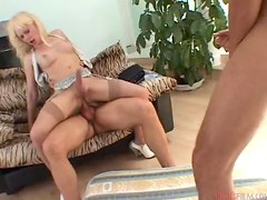 Joanna Jet the slutty shemale babe gets threesomed