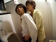 Eiko Mochizuki gets in the men's room and sucks his cock