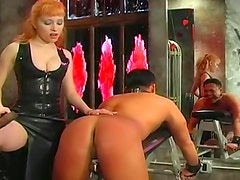 Man spanked and strapon fucked by girl