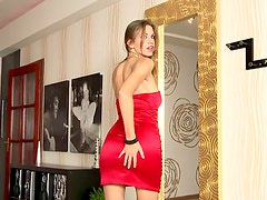 Sexy Eufrat in a red satin dress