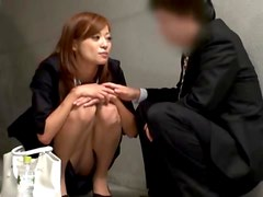 Japanese beauty seduces a man and fucks him in the garage