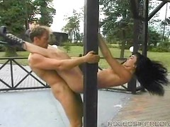 Hardcore acrobatic sex with a busty brunette and a horny blond