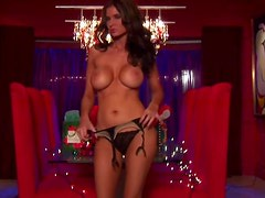 Big Breasted Chick Amanda Hanshaw Playing with Christmas Lights