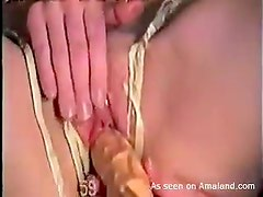 Horny slut inserting toys in her amateur pussy