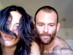 Hairy freak fucking his hot amateur girlfriend