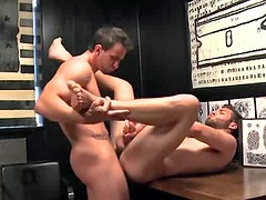 Bear takes cock in ass from hot guy
