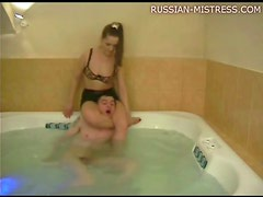 Mistress shoves him underwater in hot tub