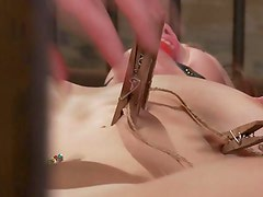 Restrained submissived being clampled